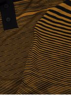 Gold & Black Striped Knitted Polo Shirt