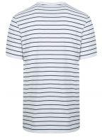 White & Navy Striped Crew Neck T-Shirt