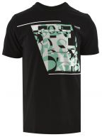 Black Cotton Abstract Logo T Shirt