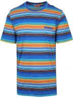 Blue Multi-Coloured Striped T-Shirt