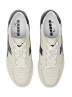 B.Elite L White & Saltire Navy Full Grain Leather Sneaker
