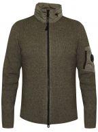 Concealable Hood Lens Khaki Knit Jacket