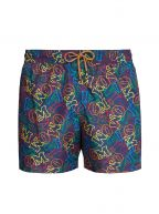Navy Logo Print Swim Shorts