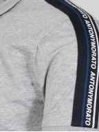 Grey Shoulder Taped Polo Shirt