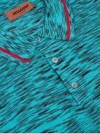 Turquoise Striped Short Sleeve Polo Shirt