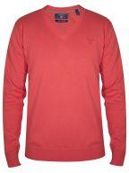 Red Melange V-Neck Jumper