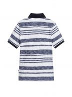 White & Blue Striped Polo Shirt