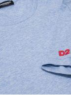 Pale Blue Marl Arm Logo Crew Neck T-Shirt