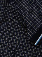 Check Pique Navy Polo Shirt