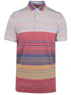 Red Striped Short Sleeve Polo Shirt