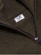 Khaki Zip Lens Knitwear Cardigan