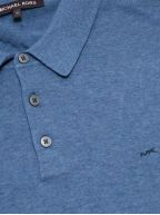 Chambray Melange Long-Sleeve Polo Shirt