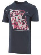 Navy Cotton Abstract Logo T Shirt