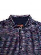 Digital Striped Long Sleeve Polo Shirt