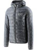 Grey Down Filled Lightweight Slim Fit Hooded Jacket