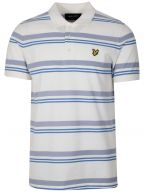Cream & Blue Striped Polo Shirt