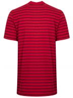 Red & Navy Striped Crew Neck T-Shirt