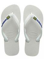 White Brasil Logo Flip Flops