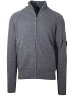 Grey Zip Lens Knitwear Cardigan
