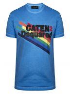Blue Rainbow Print T-Shirt