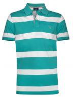 Porcelain Green Block Striped Polo Shirt