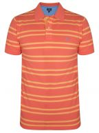 Coral Striped Polo Shirt