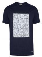 Navy Geometric Print Logo T-Shirt