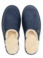 Navy Lambskin Slippers