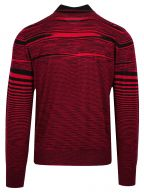 Red & Black Striped Knitted Polo Shirt
