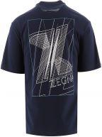 Blue Polygon Print T-Shirt