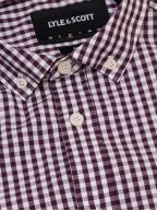 Burgundy & White Gingham Long-Sleeve Shirt