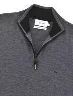 Dark Grey Superior Wool Quarter Zip Jumper