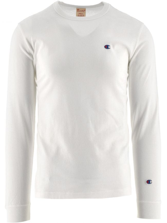 White Crew Neck Long Sleeve T Shirt