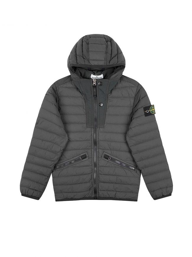 Grey Nylon Padded Down Jacket