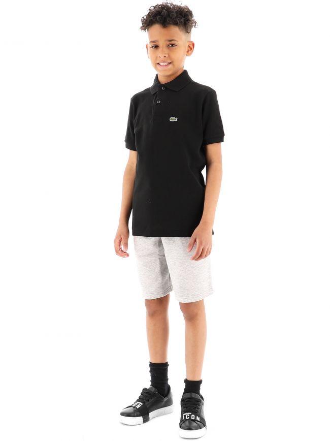 Lacoste Kids Black Short Sleeve Ribbed Collar Polo Shirt
