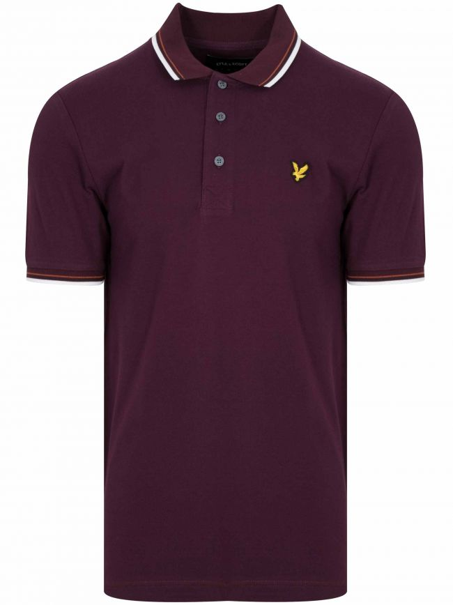 Burgundy Piped Polo Shirt