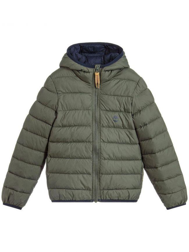 Khaki Green Hooded Packable Bubble Jacket