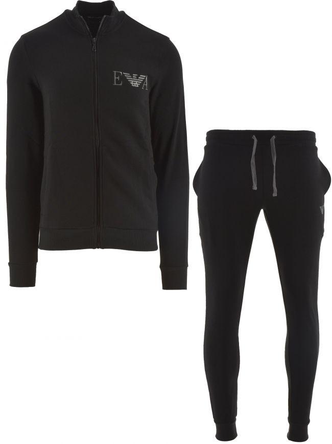 Black Long Sleeve Zipped Sweatshirt & Trousers