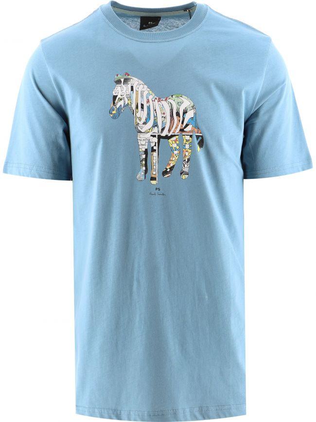 Blue Regular Fit Multi-Coloured Zebra Print T-Shirt