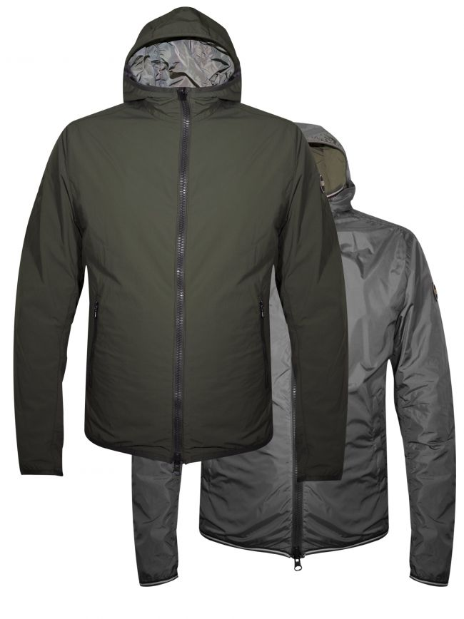 Khaki & Grey Reversible Hooded Jacket