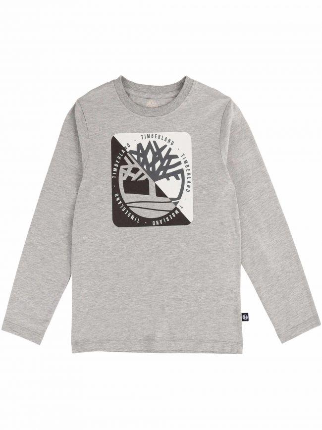 Grey Long Sleeved Logo T-Shirt