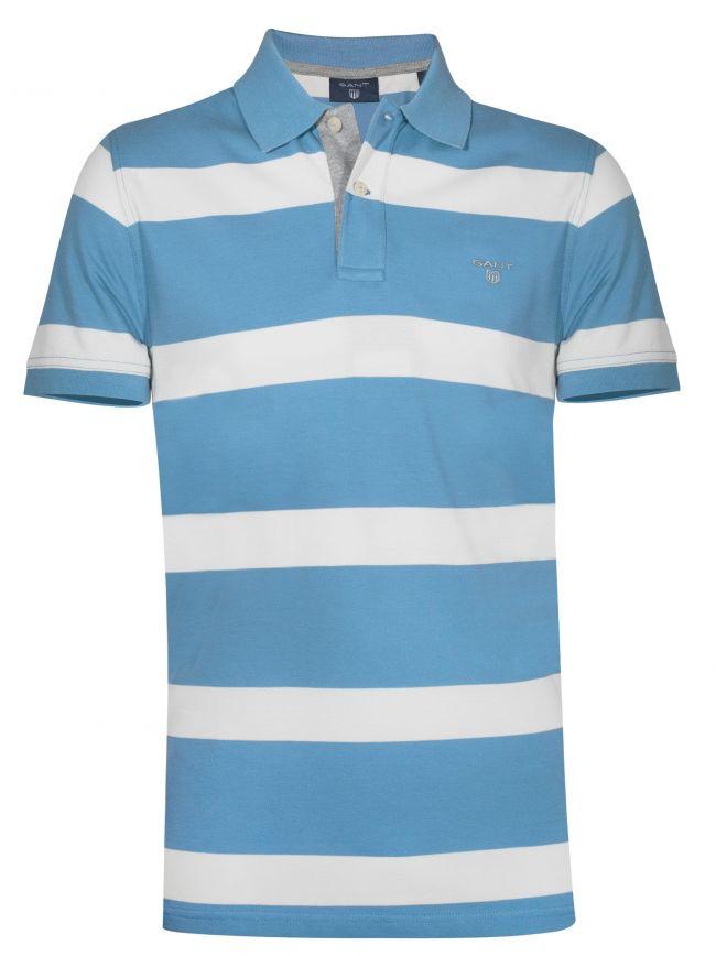 Toy Blue Block Striped Polo Shirt