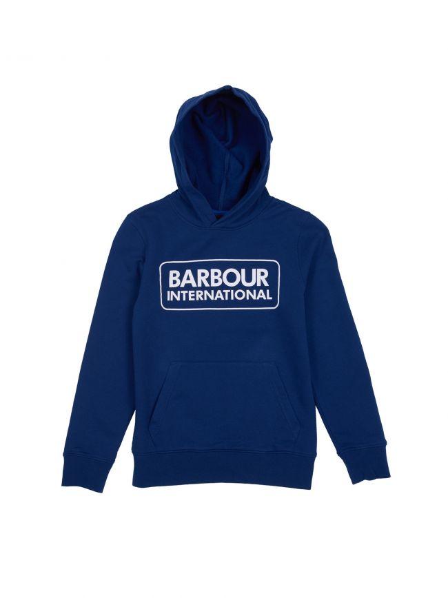 Barbour International Kids Inky Blue Large Logo Hooded Sweatshirt