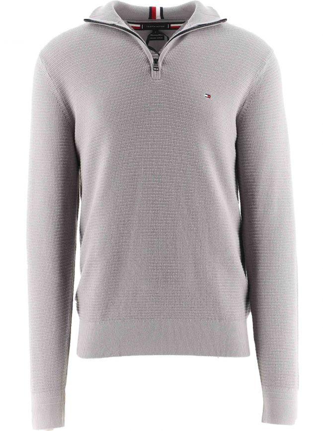 Grey Structure Zip Up Sweatshirt