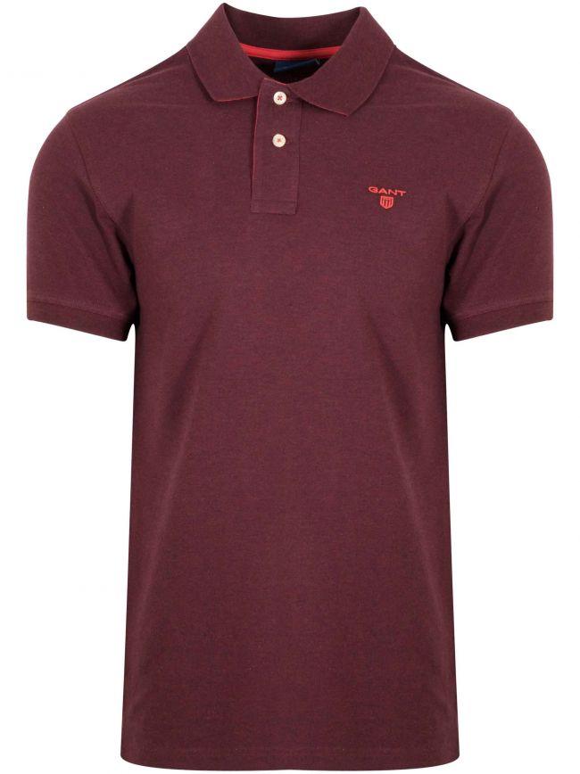 Dark Burgundy Melange Contrast Polo Shirt