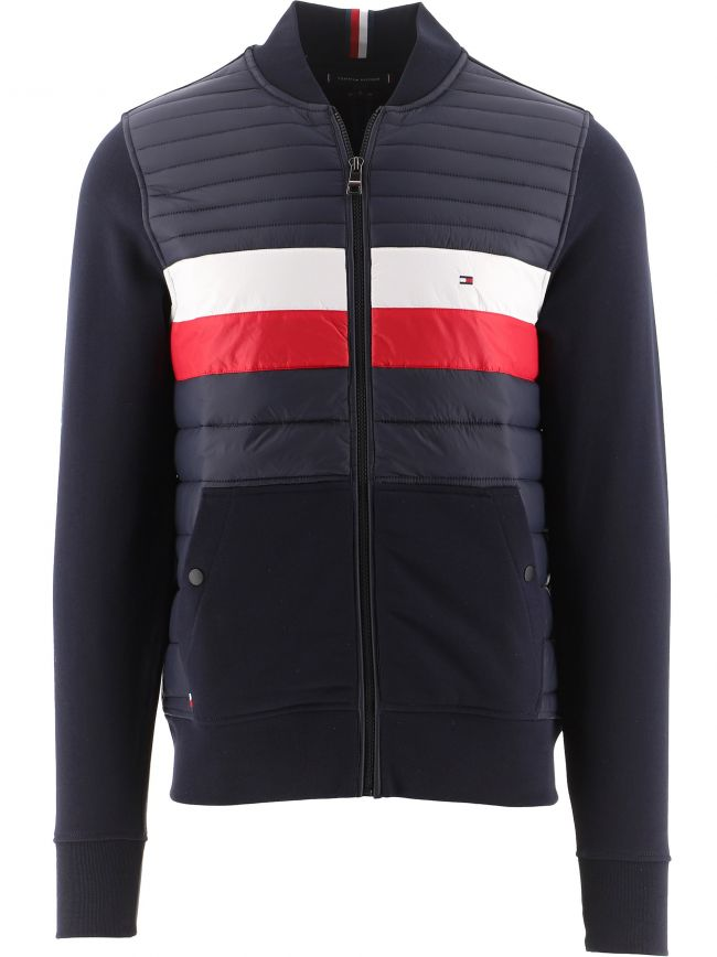Navy Mixed Texture Baseball Zip-Thru Sweatshirt