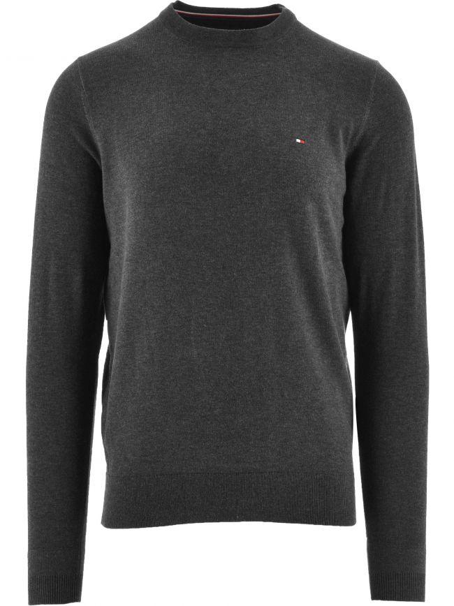 Grey Core Cotton-Silk Crew Neck Jumper