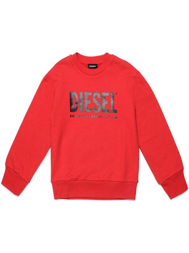 Diesel Kids Red Screw Division Logo Sweatshirt