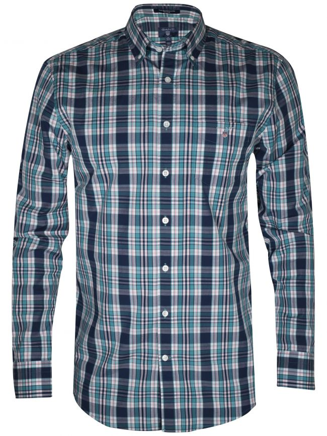 Blue Broadcloth Plaid Long-Sleeve Shirt