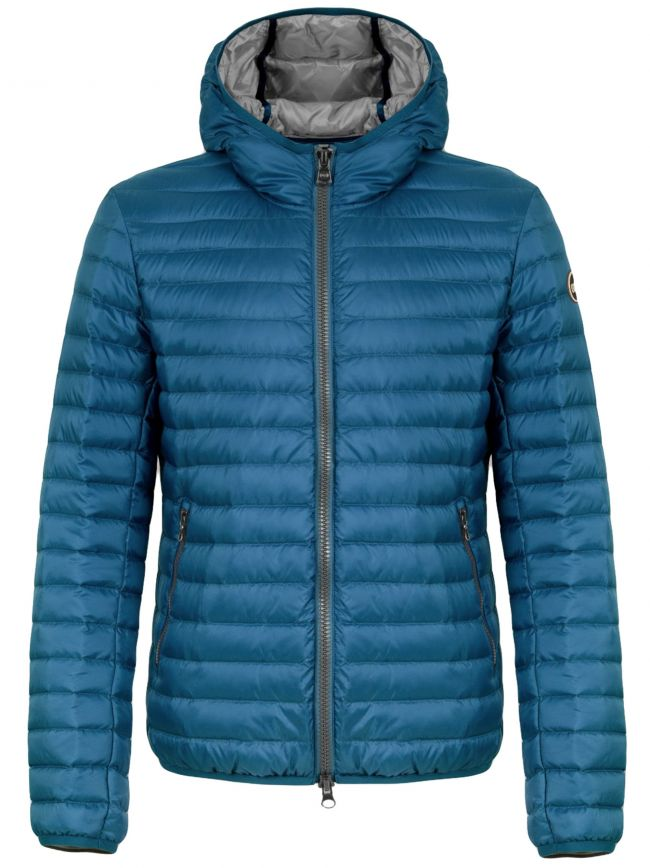 Wave Blue Lightweight Down Hooded Jacket